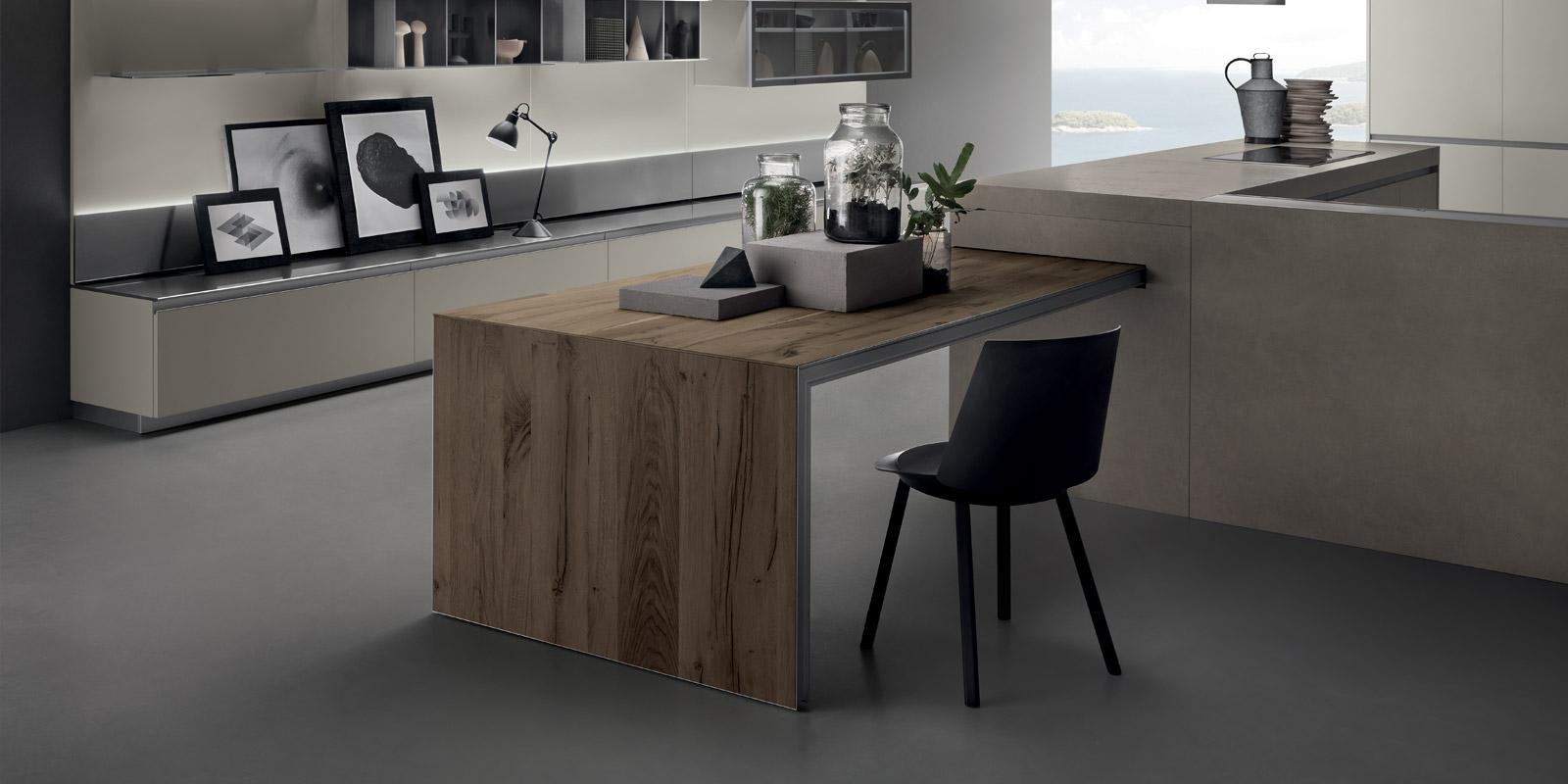 Lab home gallery l 39 abitare arredamenti for Cucina con tavolo estraibile